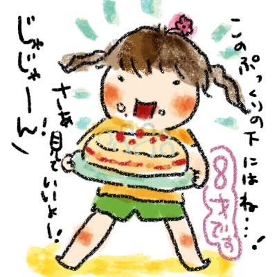 ケーキも全部自分でデコ。 ぷっくりと盛り上げたクリームの下には これまたごろな手作りのチョコがかくされていて…。 …かなり、甘かったです。